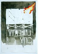 Adler Guerrier Untiled (Liberty City on fire) 2007 Graphite, watercolor, ink, gesso on paper