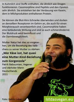 """Patrik Baboumian: """"The mother-child relationship with the Gorgonzola!"""" - The well-known vegan Patrik Baboumian, Germany& strongest man, tells at the vegan summer fest - Vegan Athlete Meal Plan, Athlete Nutrition, Vegan Nutrition, Nutrition Tips, Fitness Smoothies, Pre Workout Smoothie Recipe, Amazing Animals, Recovery Food, Summer Fest"""