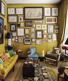 Paint Color Portfolio: Mustard Living Rooms (suitable for small living rooms) Mustard Living Rooms, Mustard Walls, Mustard Bedroom, Mustard Yellow Decor, Maximalist Interior, Small Living, Cozy Living, Living Area, Living Spaces