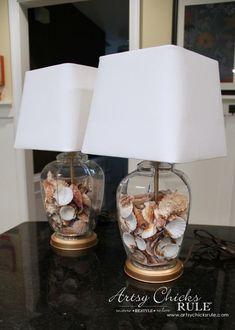 Thrifty Coastal Lamp Makeover (Trash to Treasure) - Artsy Chicks Rule® Coastal Decor, Coastal Decor Rugs, Lamp, Lamp Makeover, Rustic Lamps, Coastal Lamp, Coastal Bedrooms, Shell Lamp, Vintage Lamps