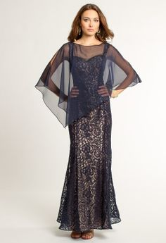 JR Nites two tone lace dress with detachable beaded chiffon cape   • Two-tone lace dress • Beaded bodice • Shoulder straps • Detachable chiffon cape