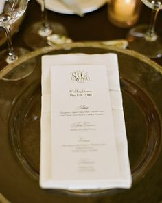 A traditional monogram can be featured on various paper details for a fomal wedding