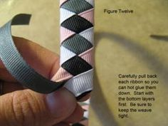 Tutorial for Ribbon Woven Headbands: easily adapted for a collar. Ribbon Headbands, Ribbon Braids, Baby Headbands, How To Make Ribbon, Ribbon Work, Braid Hairband, Diy Headband, Ribbon Sculpture, Diy Hair Accessories