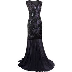 Vijiv 1920s Long Prom Dresses V Neck Beaded Sequin Gatsby Maxi Evening... ($2) ❤ liked on Polyvore featuring dresses, beaded prom dresses, homecoming dresses, prom dresses, long prom dresses and long maxi dresses