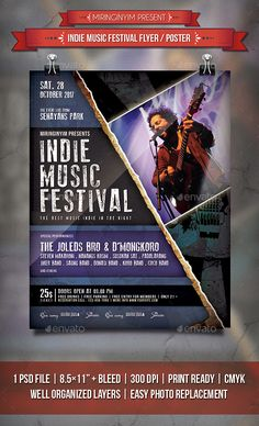 Indie Music Festival Flyer / Poster Template PSD