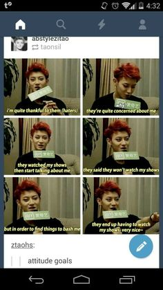 Its true lmfao, Tao's confidence is great. Even in EXO he was like that