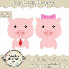 Cute Couple Pig, Casal Fofo de Porcos, Porquinho Rosa, Lacinho, Loop, Tie, Gravata, Fofinho, Fluffy, Chiqueiro, Lama, Corte Regular, Regular Cut, Silhouette, Arquivo de Recorte, DXF, SVG, PNG