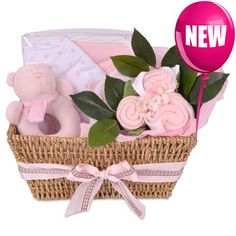 This fabulous gift basket contains an assortment of essential baby clothing for the new baby girl, an adorable teddy bear hand rattle and a soft double lined cuddlewrap, making a unique and practical gift for the new mum and baby. Gift Hampers, Gift Baskets, Gift Wraping, Baby Hamper, Retreat Ideas, Boquet, Unique Baby Gifts, Baby Set, New Mums