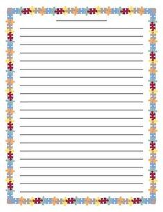 Colorful puzzle border lined paper - great for creative writing, personal narrative, informative text or any type of writing.Puzzle Primary Lined Paper. Lined Writing Paper, Printable Lined Paper, Border Templates, Study Help, Stationery Paper, Note Paper, Hummingbirds, Creative Writing, Stationary