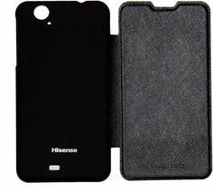 Hisense Cover U966. Carcasa delantera imitación piel y Carcasa trasera de plástico. Color Negro. #smartphone #Hisense #cover #carcasa #accesorios #negro #tecnología #U966