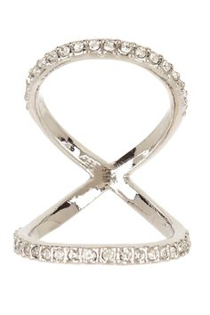 """Silver Knuckle Ring by Mon Cherie  $96 - $24 @HauteLook. - Rhodium plated bezel set CZ double loop knuckle band - Fits ring sizes 6-8 - Approx. 4mm band width - Approx. 1"""" knuckle width Rhodium plated brass, cubic zirconia. Do not use jewelry cleaner."""