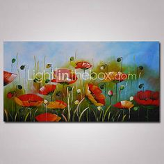 Hand-Painted Abstract Poppy Flowers Oil Painting on Canvas Ready to Hang 4306241…
