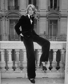 """""""Breaking dress codes ! As part of his 1966 A/W collection, Yves Saint Laurent designed Le Smoking, the ultimate power suit. Charlotte Rampling in YSL by…"""""""