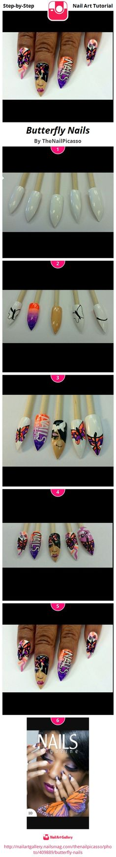 Butterfly Nails - Nail Art Gallery Step-by-Step Tutorial Photos