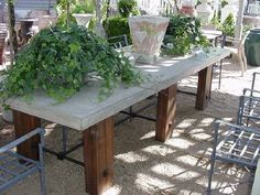 Custom Dining Table with Concrete Top Table as Shown is 10L x 45