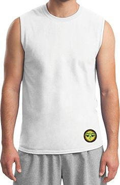 Mens Yoga Buddha Eyes Patch Bottom Print Muscle Shirt White Large * You can get additional details at the image link.