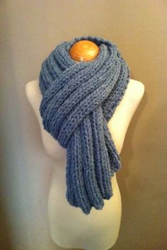 Hand Knitted Luxurious Long Scarf in a fantastic Light Denim Blue colour on Etsy, £49.99