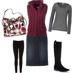 Cosy warm for Winter. Modest Polyvore style. Denim skirt, long sleeved gray tshirt, black leggings, tall black boots, plum / burgandy sleeveless sweater.