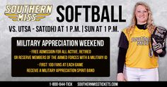 Come out to the Southern Miss Softball games this weekend for Military Appreciation Weekend!