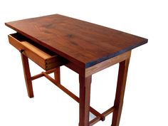Leroy Douglas—artist signed & branded. A fine example. FOR SALE: Jatoba side-table, 2-piece Black Walnut top, w/ drawer—hand cut dovetail corners, inlet Fir bottom panel, Rosewood pull. (31½'' L x 16½'' W x 23¾'' H) No fasteners were used in the making, only joinery. Linseed/Tung/Castor oil finish. $3700  http://www.OregonStudioWoodworking.com