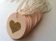 25 Blush and Gold Heart Tags with Pale Bakers Twine.  Favor tags or gift tags for weddings, bridal showers, birthday parties