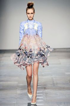 Mary Katrantzou Fall 2012 Runway. Love the pattern/ colors/ shape. Definite win.