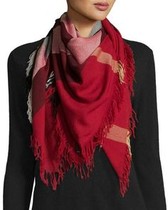 BURBERRY Color Check Wool Scarf, Parade Red. #burberry #