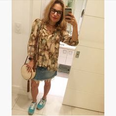 Dujour - BiancaCoimbra is wearing New Balance Sneakers, Dress To Skirt, Maria Filó Blouse, Schutz Bag and Apple Watch