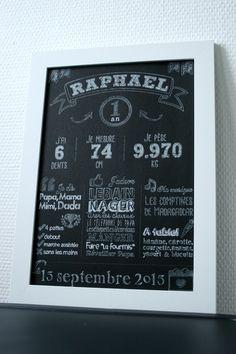 Chalkboard personnalisable Premier anniversaire (vendu sans cadre)