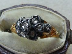 Memento Mori Diamond Set Skull in Silver 18ct Gold Ring
