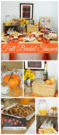 "A ""Fall in Love"" themed autumn leaves Bridal Shower with festive colors and decorations! See more party planning ideas at CatchMyParty.com!"
