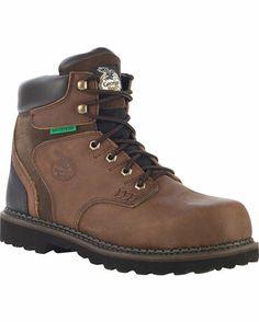 "Men's 6"" Georgia Brookville Steel Toe Waterproof Work Shoe - Brown"