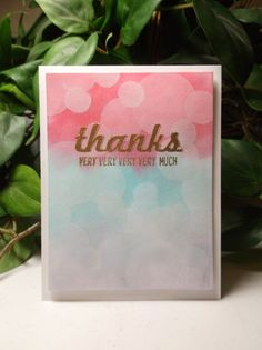 Rachel's Card Corner: Christmas In August (CIA) Part 3 (And An Extra) - Fabulous Four - Strawberry Slush, Bermuda Bay, Wisteria Wonder, White Craft - Bokeh Effect thank you card