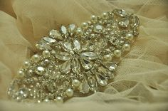 rhinestone applique for wedding sash bridal by lacetime on Etsy