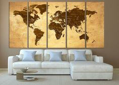 Large wall art world map canvas print large world map wall art water color world map with 5 panel huge large canvas painting makes your home elegant gumiabroncs Choice Image