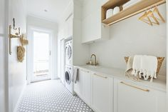Go Inside The Block 2020 Hallway and Laundries - TLC Interiors Home, Powder Room, Dado Rail, Timber Flooring, Upholstered Window Seat, Chic Spaces, Rooms Reveal, Australian Homes, Power Room