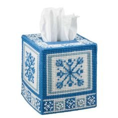 Welcome winter with a flurry of snowflakes on this plastic canvas tissue box cover. Kit includes plastic canvas, acrylic yarn, cotton floss, and needle. Tissue Box Crafts, Plastic Canvas Tissue Boxes, Plastic Canvas Crafts, Plastic Canvas Patterns, Yarn Crafts, Tissue Box Holder, Tissue Box Covers, Needlepoint Patterns, Cross Stitch Patterns