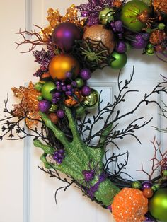 The Witch's Hand  Spooky Halloween Wreath  by CelebrateAndDecorate