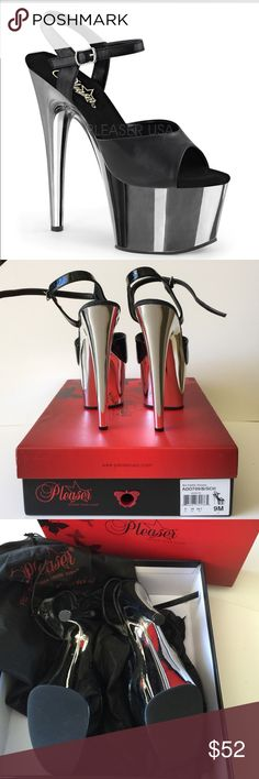 "Pleaders Pole Dance Shoes 7"" Platform High Heels by Pleasers in like new condition.   Black Patent with a Silver Chrome Platform7""   Ships in original box with shoe sleeves and drawstring dust cover Pleasers Shoes Platforms"