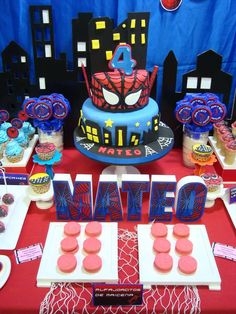 Desserts and cake at a Spiderman  birthday party! See more party planning ideas at CatchMyParty.com!