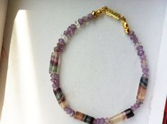 Rainbow flourite tube beads with amethyst rough by jackiesjewells, $22.00