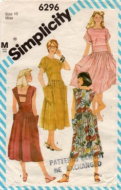 Pretty sure I wore this dress in the thanks to my mom —>Simplicity 6296 Womens Drop Waisted Dress with Cut Out Back Vintage Sewing Pattern Size 12 Bust 34 inches Vintage Dress Patterns, Clothing Patterns, Vintage Dresses, Vintage Outfits, Vintage Fashion, Classic Fashion, 80s Fashion, Bare Back Dress, Moda Retro