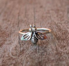 Sterling Silver Bumble Bee Ring by ArmoredJewelry on Etsy, $30.00