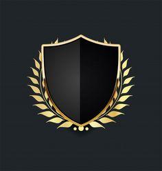 Escudo de ouro com coroa de louros doura. Shield Vector, Shield Logo, Beach Illustration, Graphic Design Illustration, Mining Logo, Laurel Wreath, Vector Free Download, Game Logo, Album Design