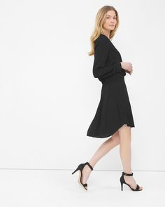 Long Sleeve Pintuck Dress - Like the elegant, tailored pintucking of the skirt, and the fluidity of the fabric.
