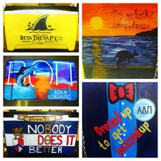 Cooler for Beta's formal at UF! Landshark, sunset, beta theta pi crest, suit and tie.