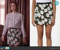 Aria's white symbol print shirt and floral sequin skirt on Pretty Little Liars.  Outfit Details: https://wornontv.net/56143/ #PLL