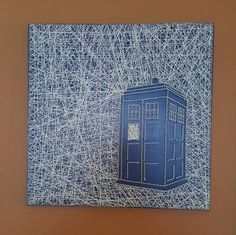 String Art Dr Who Tardis by PawtiqueCollars on Etsy Nerd Crafts, Diy Arts And Crafts, Creative Crafts, Diy Crafts, Fundraising Crafts, Doctor Who Craft, Nail String Art, String Art Patterns, Owl Patterns
