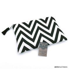 Pochette trousse en tissu graphique noir et blanc