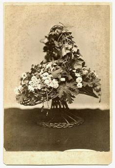 Mourning Memorial Floral Wicker Basket Cabinet Card by obscurio, $24.00